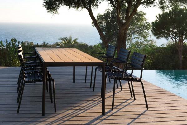 Outdoor Esstisch Four - schwarzes Tischbein - Clips