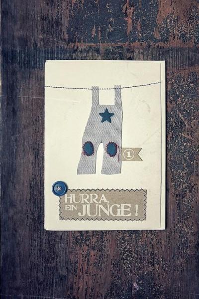 Hurra, ein Junge - Babykarte