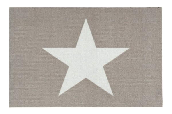 Beige Fußmatte Stern, waschbar 50x75cm