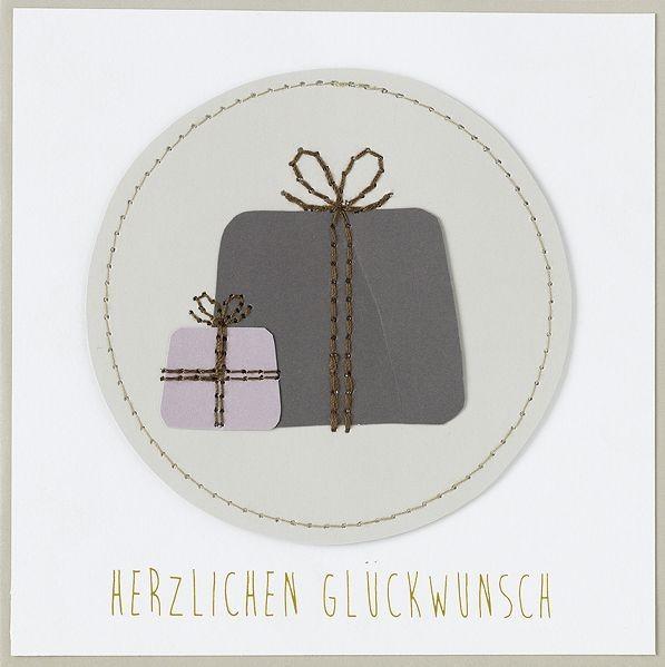 """Karte - Stickerei """"Herzlichen Glückwunsch"""" 14 x14 cm"""