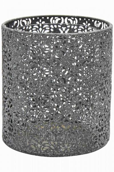 Teelicht Metall hellgrau orientalisch
