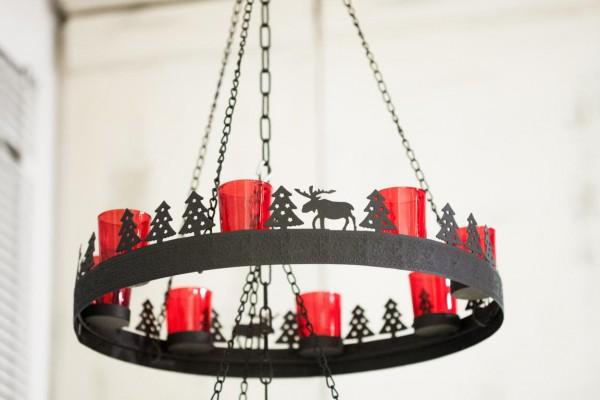 Weihnachtskranz Metall mit roten Gläsern