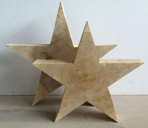 Holz Stern Pappel natur - glatt - 50 cm