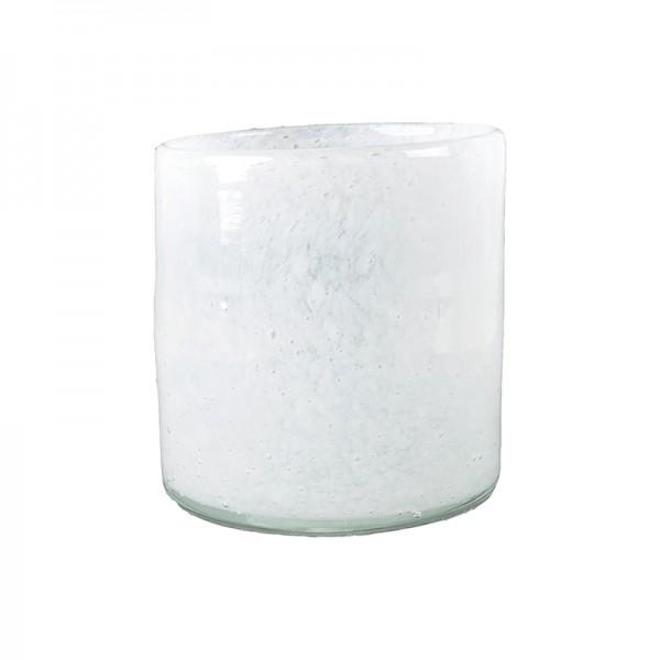 Windlicht Farbglas weiß