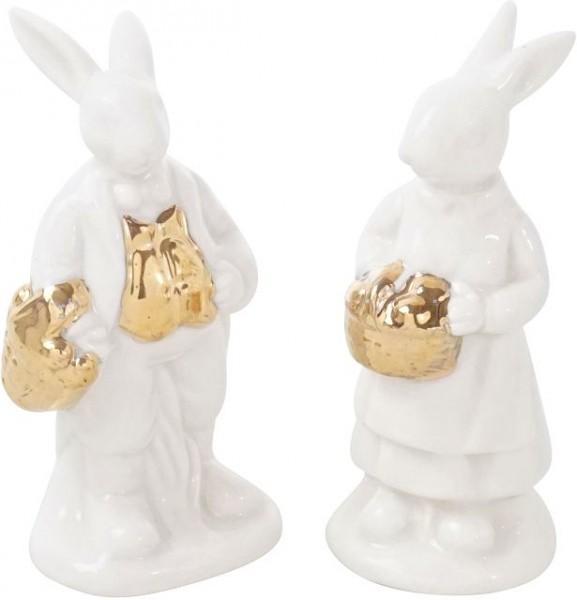 Hasenpaar Goldkorb mini