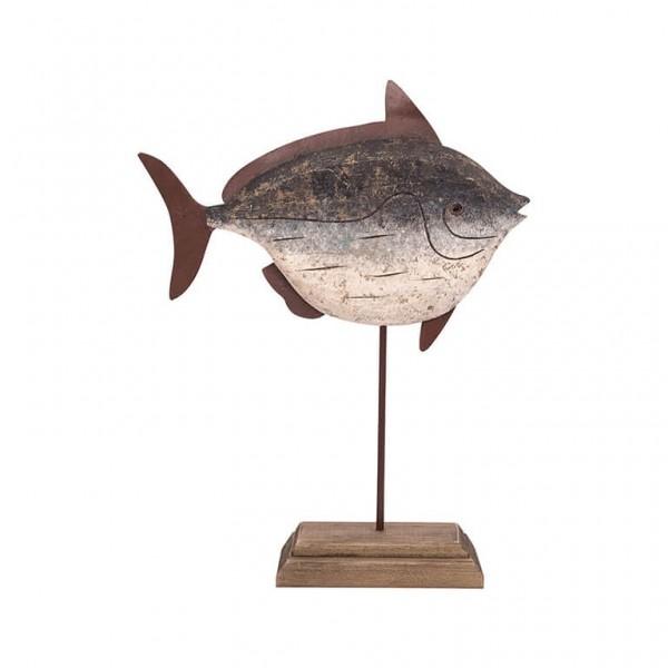 Holzfisch auf Ständer dunkelblau, L 29 cm