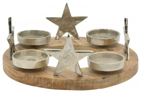 Holz-Adventskranz Sterne