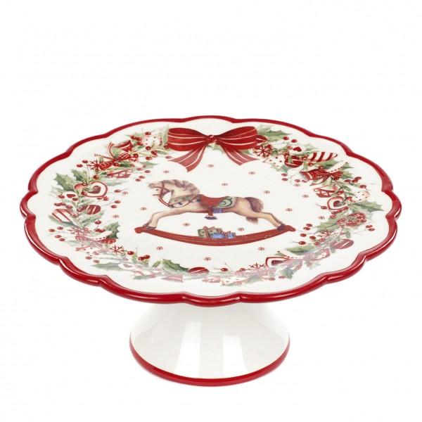 Kuchenplatte für Weihnachten - Dekor: Schaukelpferd und Schleifen in rot