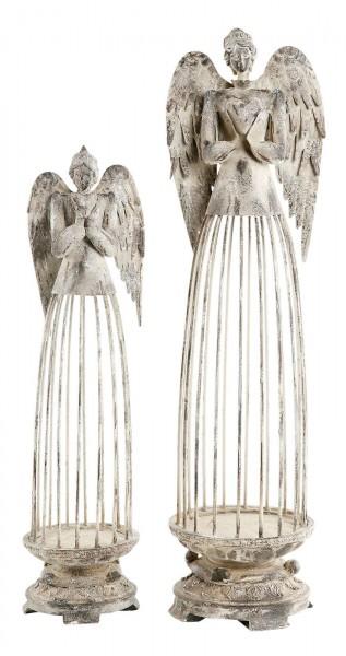 Engel Dekofigur Metall grau