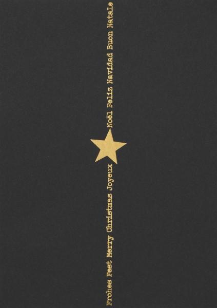 """Postkarte """"Frohes Fest Merry christmas"""" schwarz und gold"""
