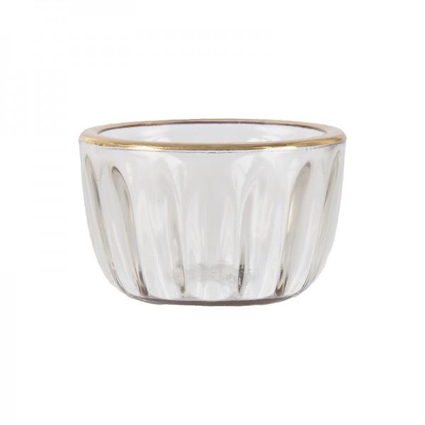 Teelicht mit Goldrand aus Glas