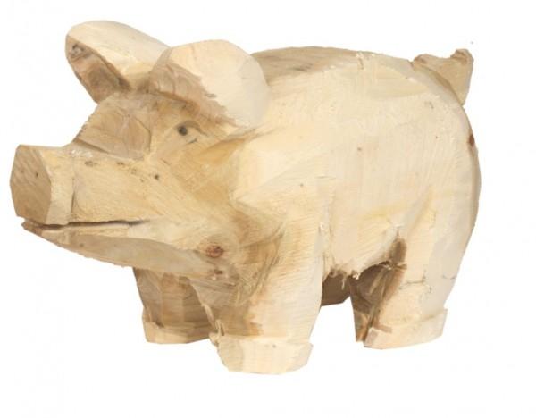 Holz-Schwein Pappel natur H: 30, L: 50 cm