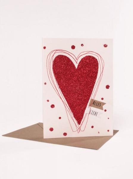 Glitterkarte Herz