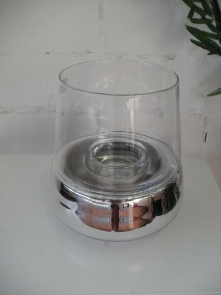 Glaswindlicht silber 2-Teilig 20cm