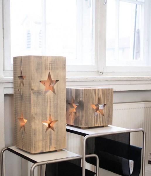 Holz-Windlicht Altholz Stern
