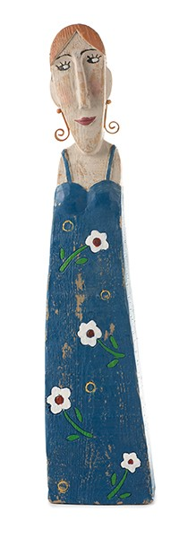 Dekofigur Frau in blauem Kleid 48cm