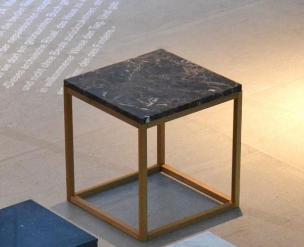 Beistelltisch Pino Marmor Quadratisch - Gestell Holz