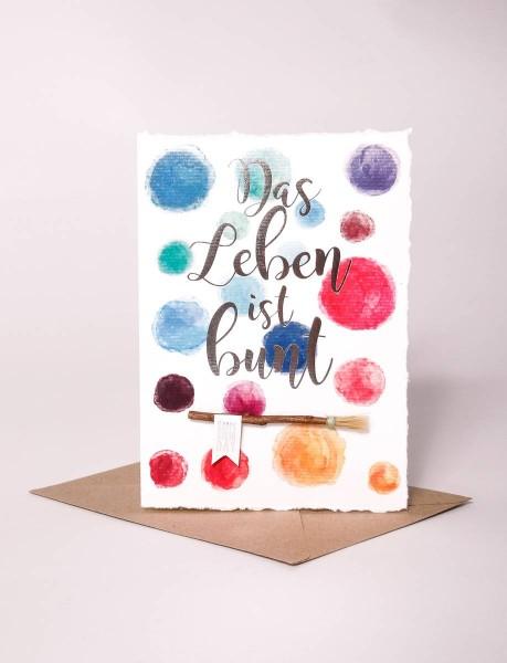 """Wasserfarben Karte """"Das Leben ist bunt"""""""