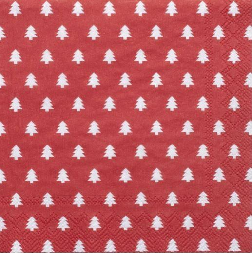 Weihnachtsservietten Tannen rot 25 x 25 cm
