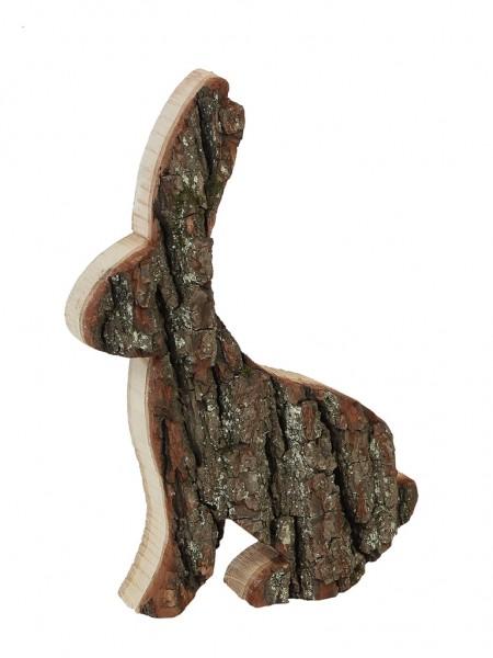 Osterhase aus Holz mit Rinde - Höhe 30 cm