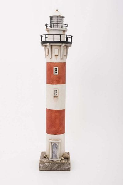 Deko Leuchtturm rot/weiß mit LED-Licht