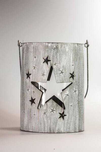Windlicht Stern mit Glas Grau 26 cm