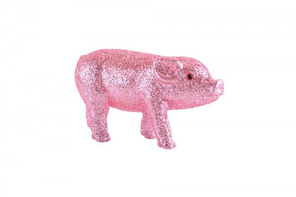 Glücksschweinchen Glitzer rosa