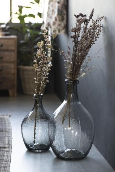 Bauchige Glasvase grau - mundgeblasen