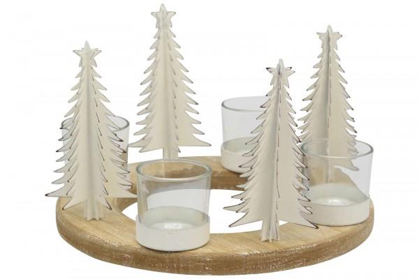 Adventskranz Holz Tannenbaum weiß