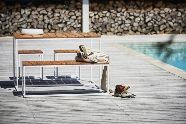 Alois Outdoorset 1 Tisch,1 Bänke, 2 Hocker weiß