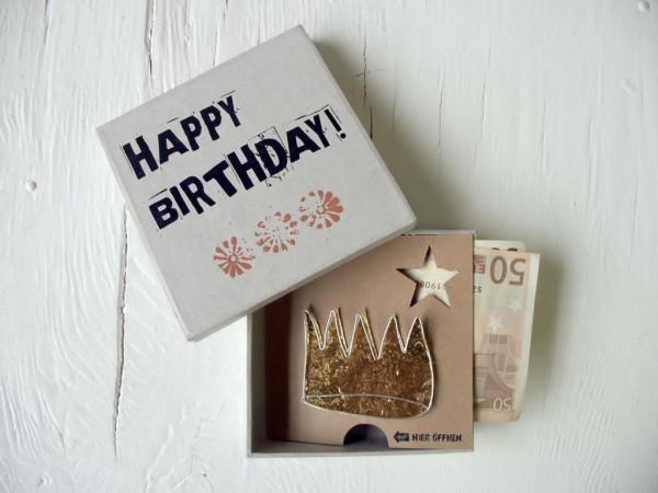 Geldgeschenk-Boxen. Happy Birthday