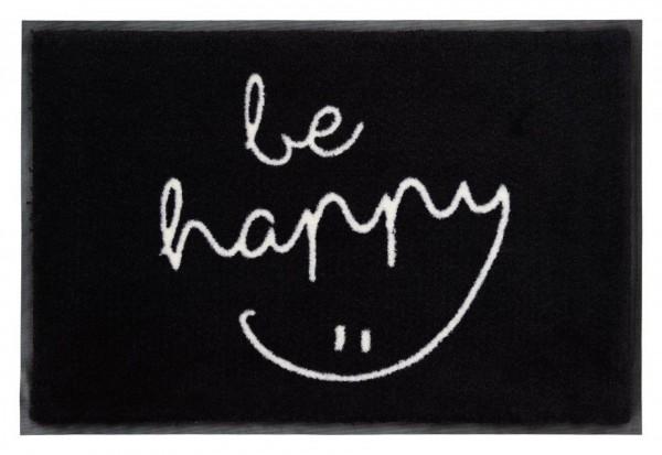 """Fußmatte """"be happy"""" - waschbar - schwarz / weiß"""