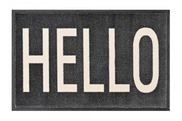 """Fußmatte """"HELLO"""" - waschbar in grau"""