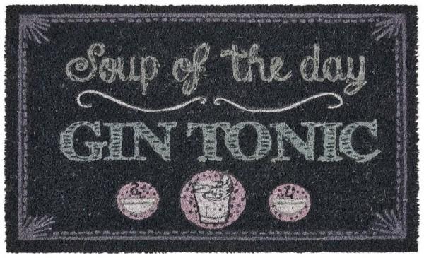 """FUSSMATTE, SOUP OF THE DAY """"Gin Tonic"""", GRAU 45x75cm"""