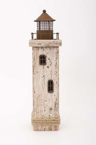 Leuchtturm Dekoobjekt weiß LED