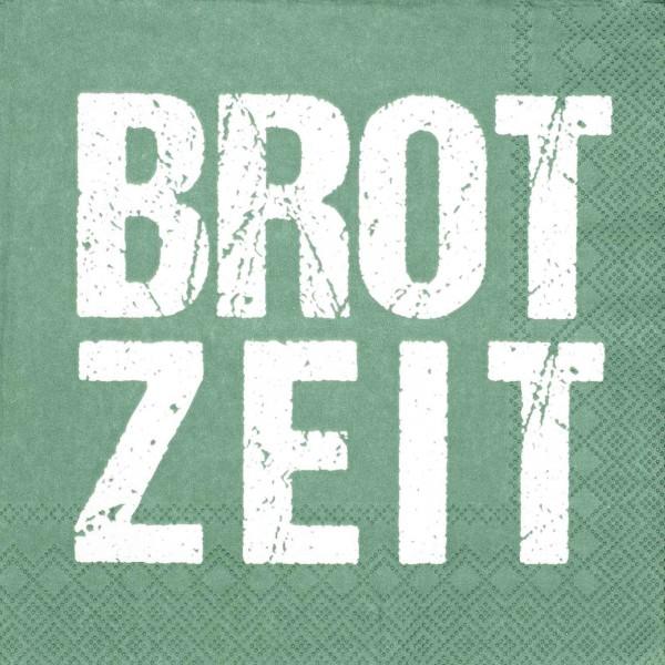 """Serviette """"Brotzeit"""" grün 33 x 33 cm"""