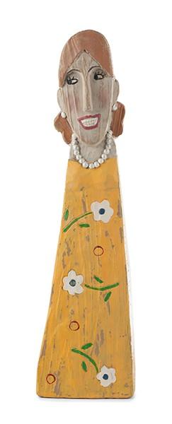 Lady in gelbem Kleid 40cm