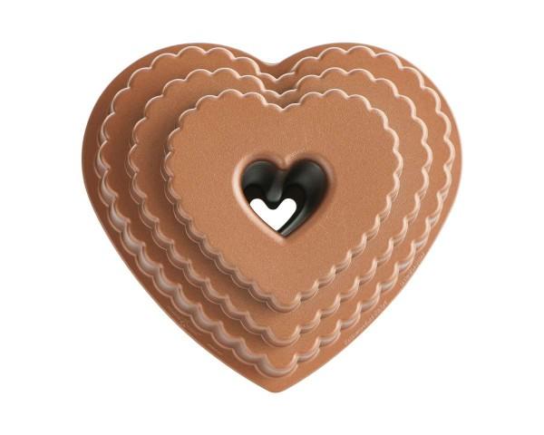 Herzförmige Kuchenform Tiered Heart Bundt Pan 2,8 Liter