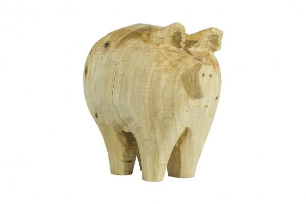 Holz Schwein Pappel natur, Höhe 35 cm