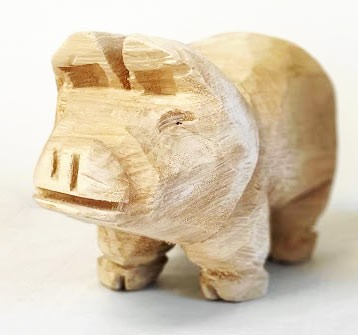 Glücksschwein aus Holz - Höhe 20 cm
