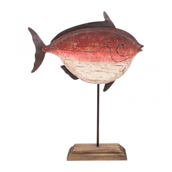 Holzfisch auf Ständer rot, L 35cm