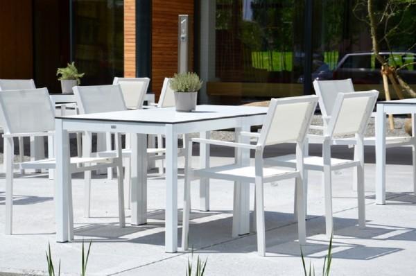 Outdoor Tisch Quadrat Hpl-Schichtstoff weiß