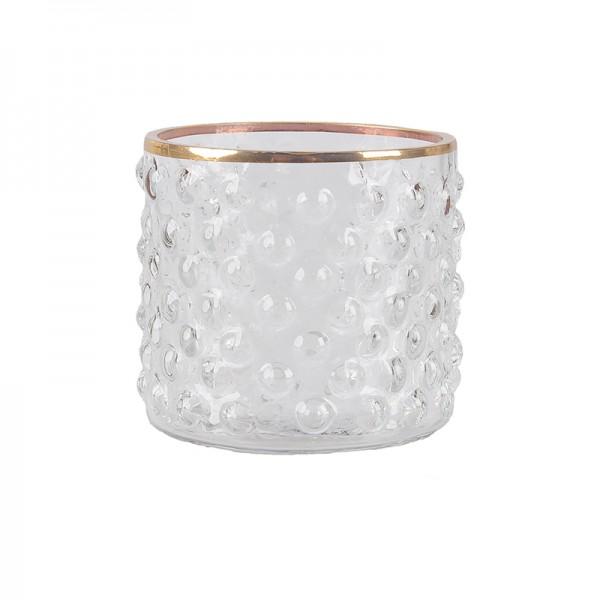 Teelicht mit Goldrand aus Glas hoch