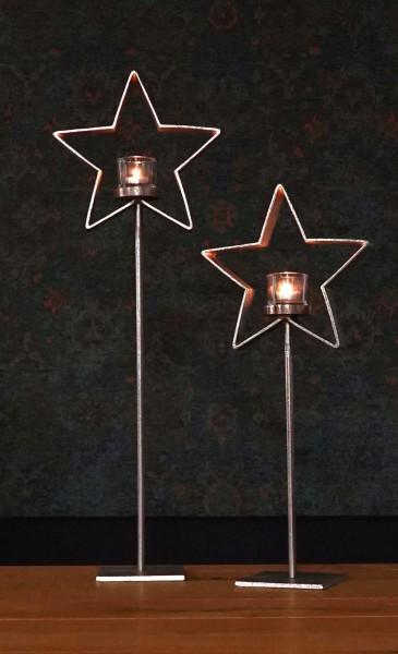 Windlicht Stern vernickelt