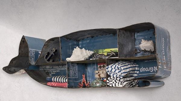"""Wandregal """"Wal"""" 110 cm - aus recyceltem Blech"""