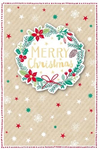 Weihnachtskarte - Merry Christmas nature/rot