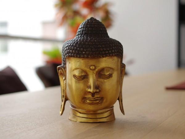 Buddha Kopf aus Metall H: 15 cm