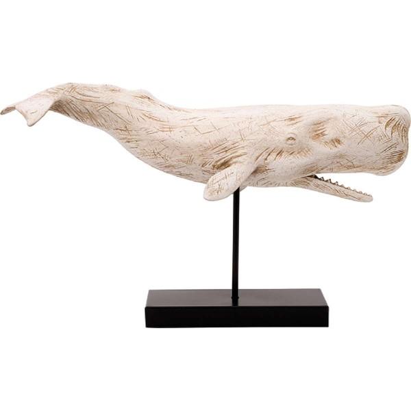 Dekofigur Pottwal weiß auf Ständer - Länge 50 cm