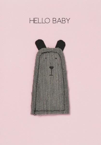 Karte - Hello Baby Bär rosa