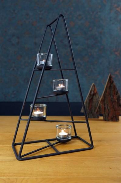 Dekobaum aus Eisen mit 4 Kerzenhalter